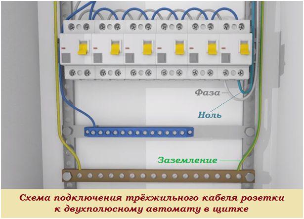 Схема подключения трехжильного кабеля розетки к двухполюсному автомату в щитке